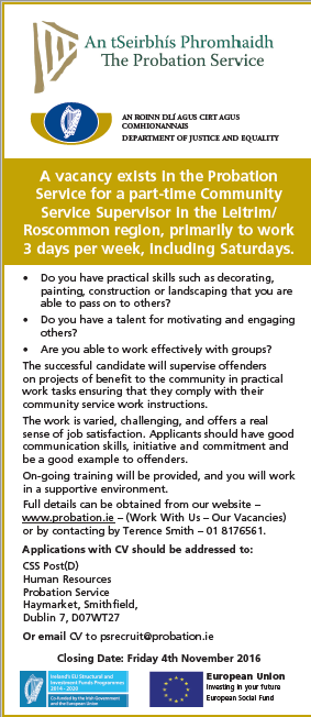 Vacancies for Community Service Supervisors in the Probation Service